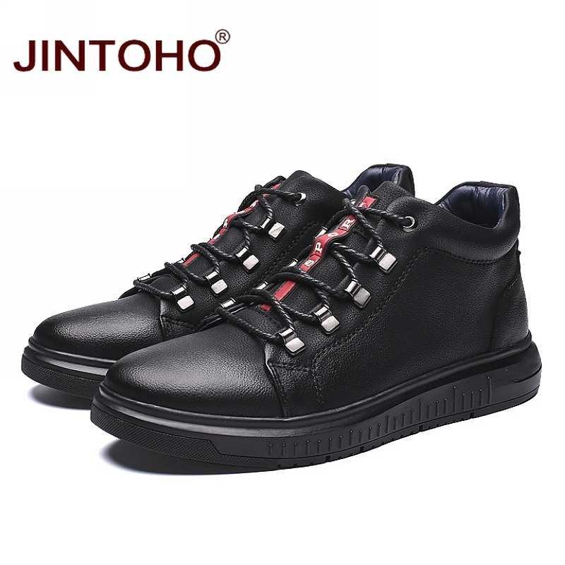 JINTOHO Echtem Leder Männer Winter Schuhe Schwarz Leder Stiefel Für Männer Winter Männlichen Stiefel Casual Männer Leder Schuhe Botas Hombre