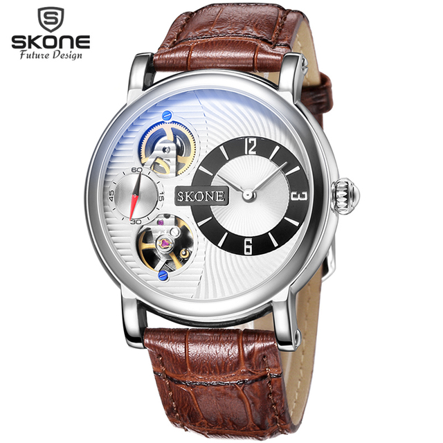 SKONE Dual Movement Automatic Mechanical Watches Men Luxury Brand Genuine Leather Watch Mechanical SelfWind Quartz Reloj Hombre