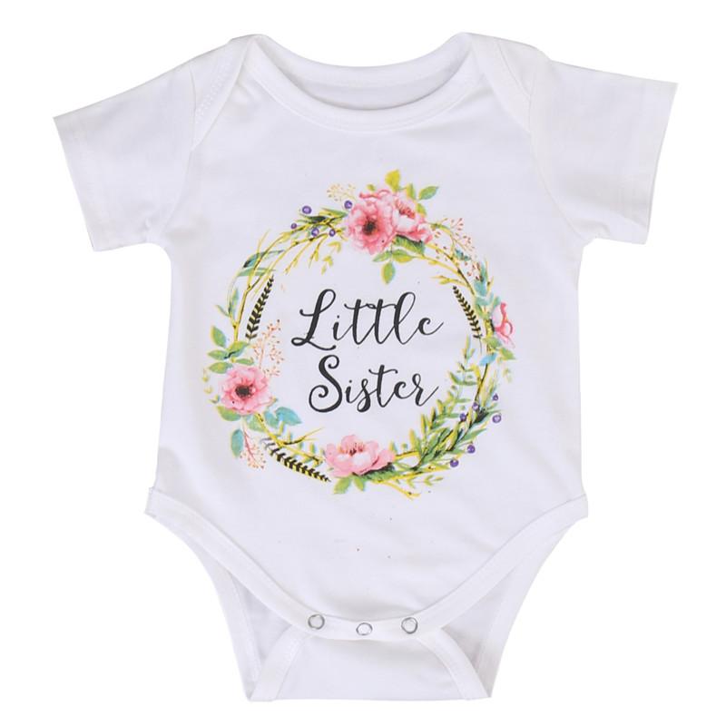 Family Matching Outfits Baby Girl Little Big Sister Match Clothes Bodysuit Romper Outfits Short Sleeve Letter Tops T Shirt 0-7Y