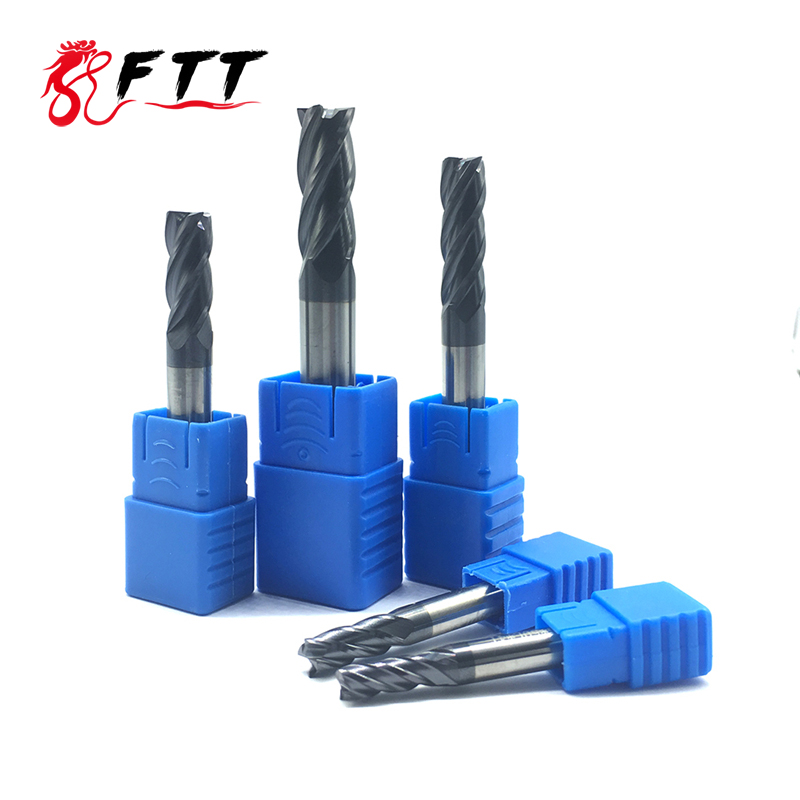 Discount Price 4 Flute HRC50 Endmills 4mm 5mm 6mm 8mm 12mm End Mill Alloy Carbide Milling Tungsten Steel
