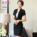 Wear short-sleeved suit new fashion lotus leaf hem Slim small collar suits overalls