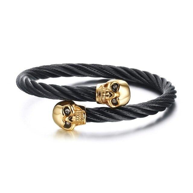 2016 Pulseira Feminina Elastic Adjustable Mens Skull Bangle Bracelet Twisted Cable Cuff Skeleton Charm Bracelets Jewelry B-088