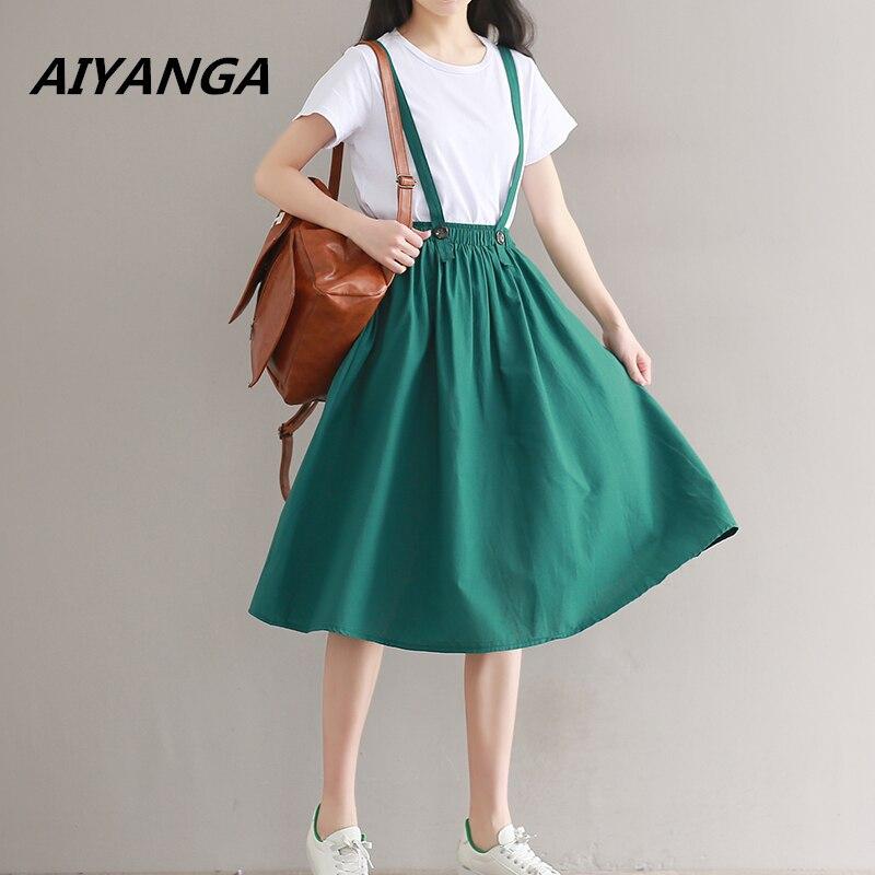 Women Linen Cotton Long Strap Skirts 2018 Girls Elastic Waist A-line Maxi Skirts Overalls Vintage Summer Skirt Faldas Saia