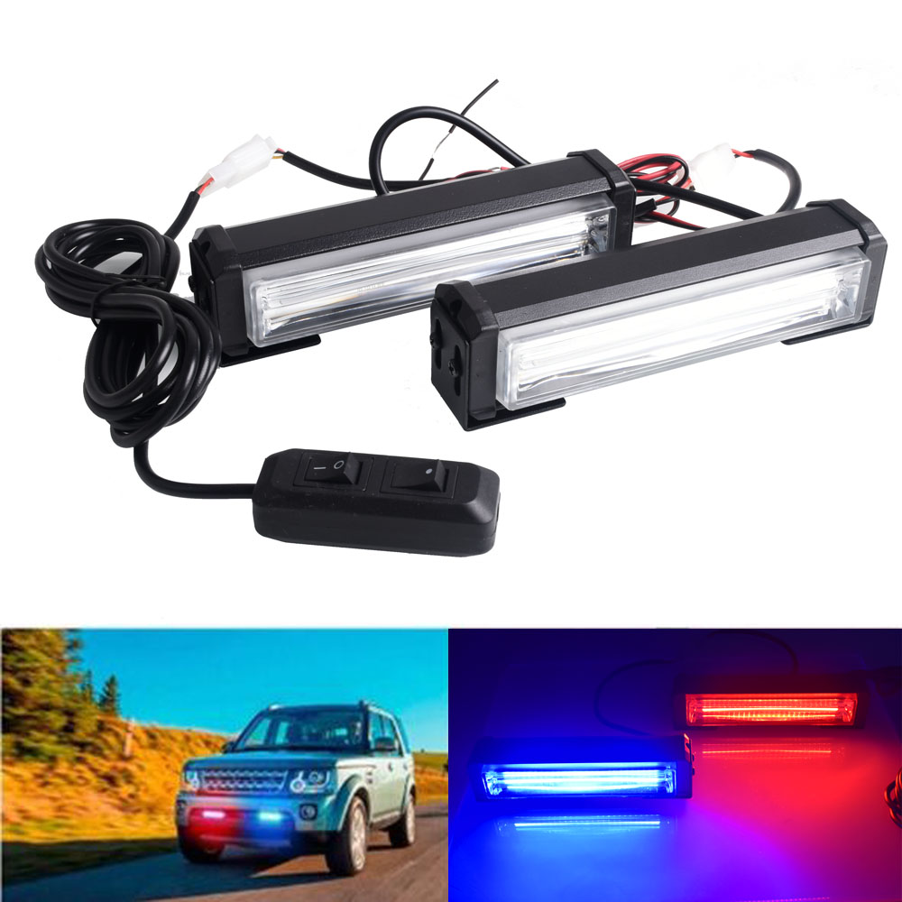 DC 12V Car LED Net Light COB Strobe Police Light One Tow Two Red Blue Yellow White Long Rod Light Car Warning Light