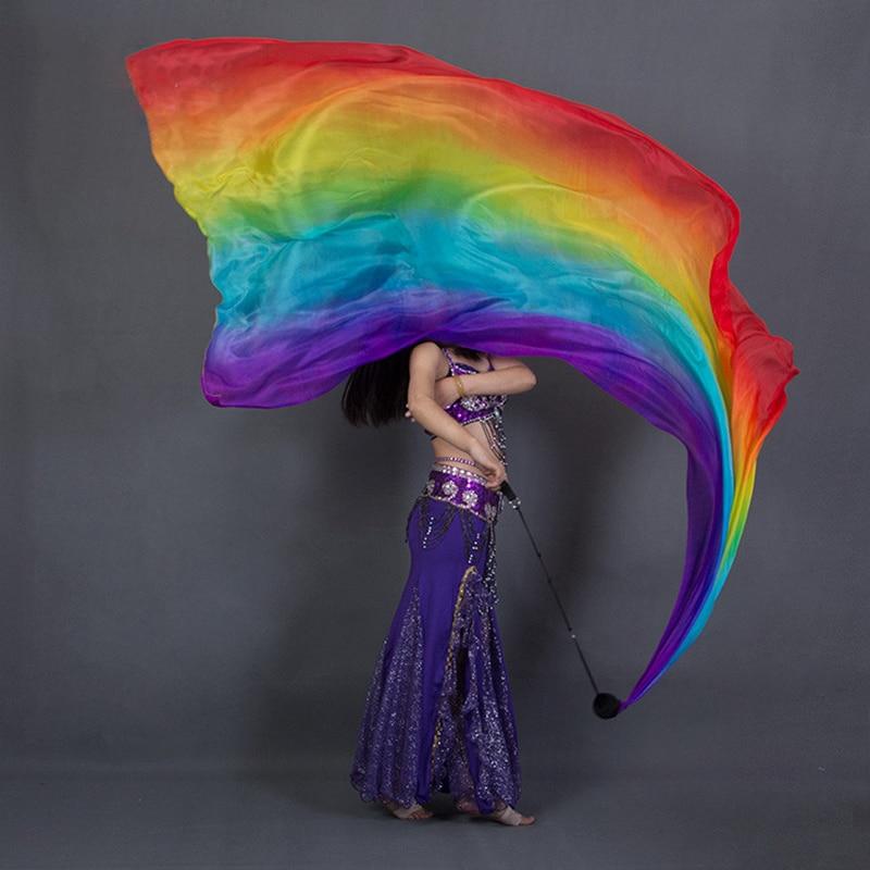 100% di Prestazione di Seta Velo Ballerino Colori A Contrasto Texture Leggera Sciarpa Rettangolare di 2.5 Metri di Danza Del Ventre Arcobaleno Velo + Palla POI