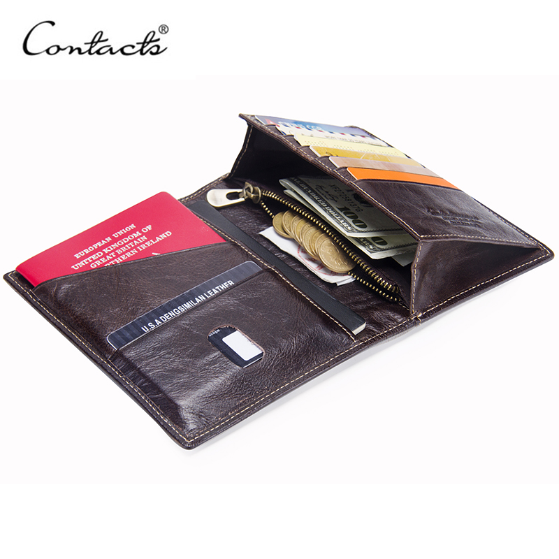 CONTACT'S Casual Genuine Leather Male Wallet Photo Holder Passport Card Holder For Travel Passport Purse With Zipper Pocket contacts cow leather men casual clutch wallet card holder zipper purse with passport holder phone case for male long wallet