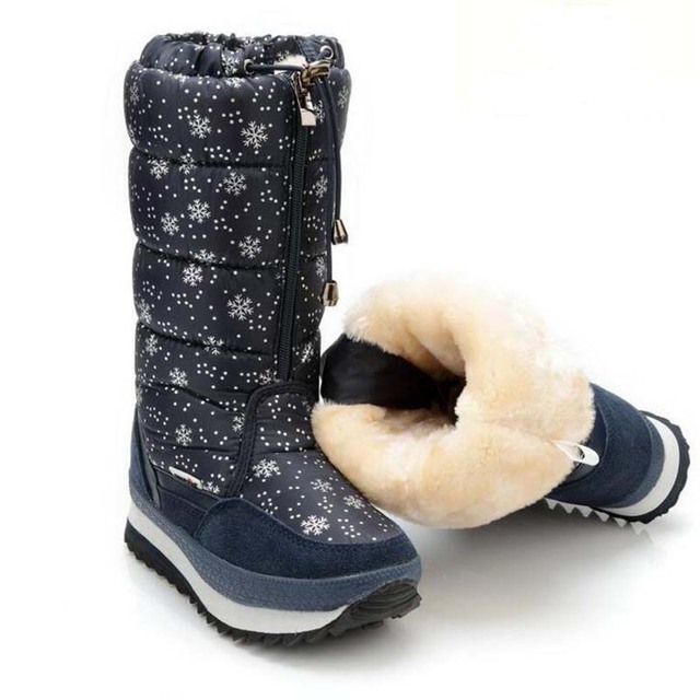 Europe style high boots for women thick soft plush boots big kids snow boots waterproof winter long boots for girls size 35-42