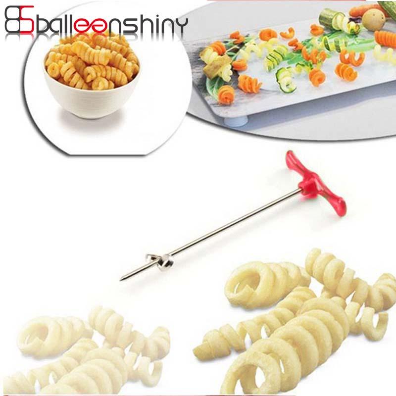 BalleenShiny Tornado Potato Spiral Cutter Rotate Potato Slicer Chips Tower Spiralizer Twist Shredder Kitchen Vegetable Tools