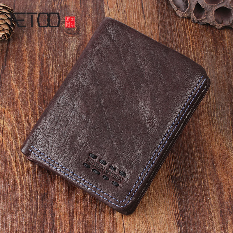 AETOO Original retro handmade leather short wallet leather men and women vertical wallet do old package