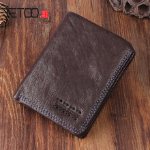 AETOO Original retro handmade leather short wallet men and women vertical do old package young thin Vintage