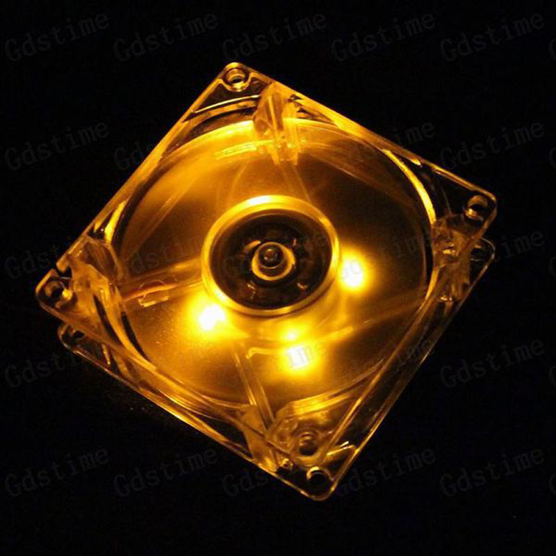 Gdstime 80x80x25mm 80mm LED Fan 8cm 4Pin Yellow LED Light Computer Case DC Cooling Cooler Fan 4pin mgt8012yr w20 graphics card fan vga cooler for xfx gts250 gs 250x ydf5 gts260 video card cooling
