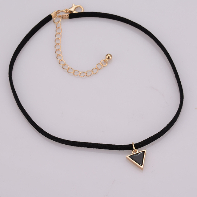Black Velvet Chocker Necklace With A Black Or White Triangle Stone