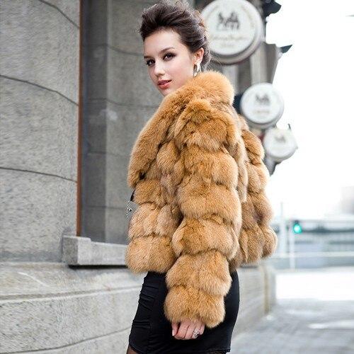 Натуральный мех пальто для женщин лисий мех пальто в полоску большой Лисий воротник натуральный мех куртка rf0046