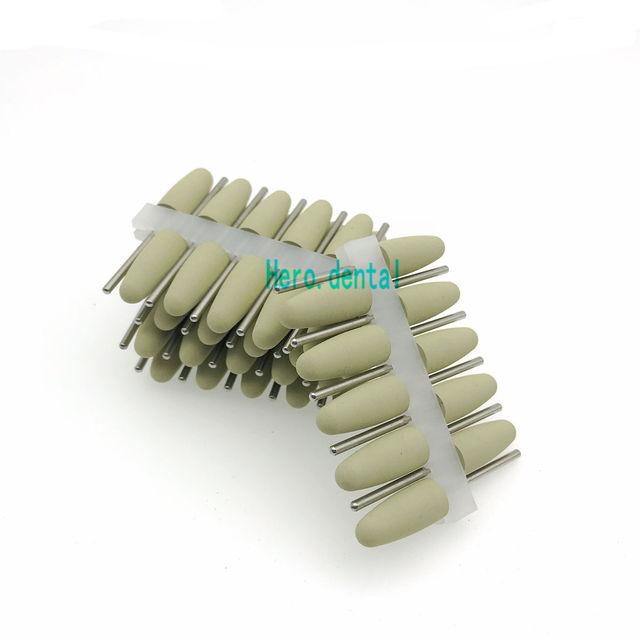 50pcs 2.35mm Dental SILICONE Rubber polishers Diamond polishing Burs for Resin Base yellow