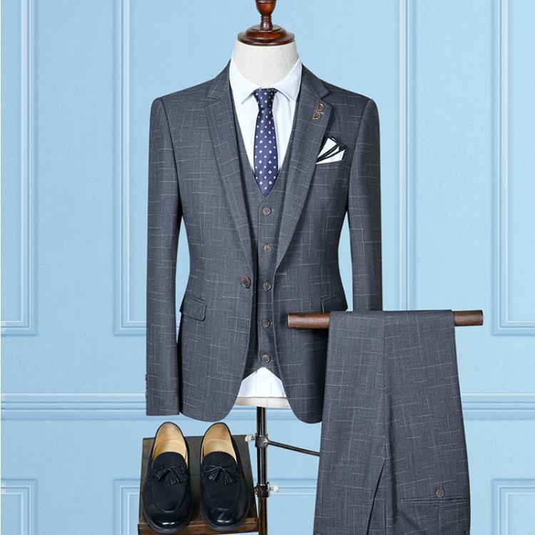 2019 Winter Big Promote New Arrival Custom Slim Fit Suit Men's High Quality Single Button Wedding Business Blazer Men Suit Terno