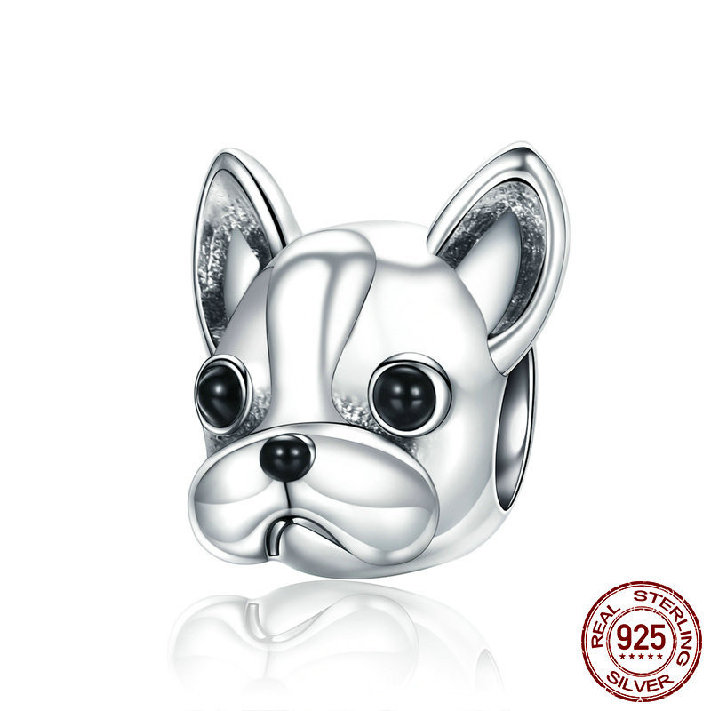 Authentic S925 Sterling Silver Charm Bead Shiba Inu Chien Cute GIRL Bracelet