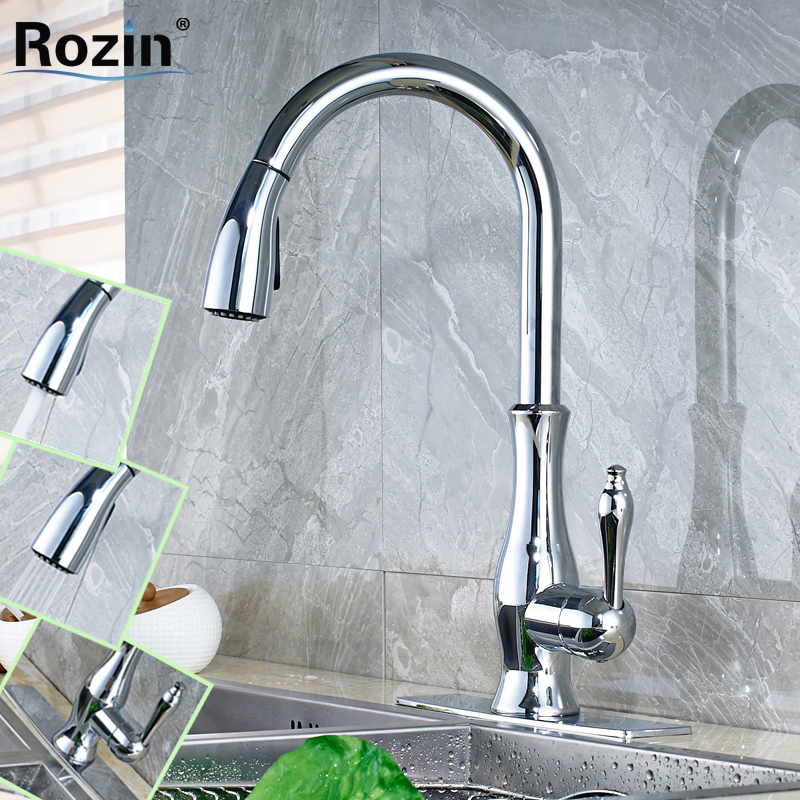 Chrome Finish Bathroom Kitchen Pull Out Faucet Single Lever Deck Mounted Crane Mixer Taps 3 Hole