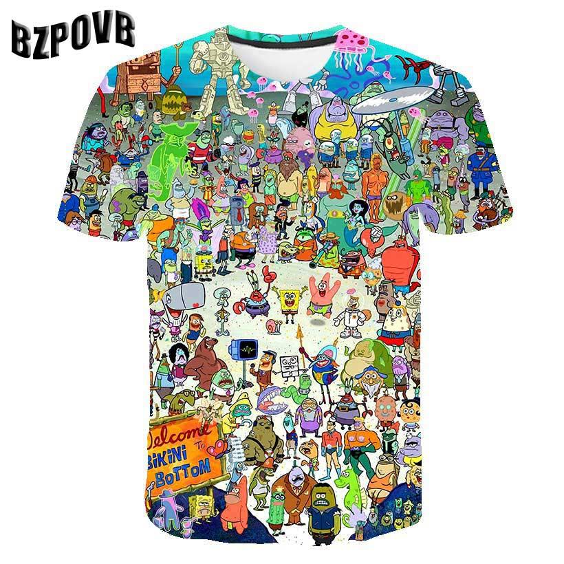 Été 2019 hommes T-shirt amusant bob l'éponge 3D imprimé manches courtes T-shirt mode décontracté hauts et T-shirt marque unisexe clo