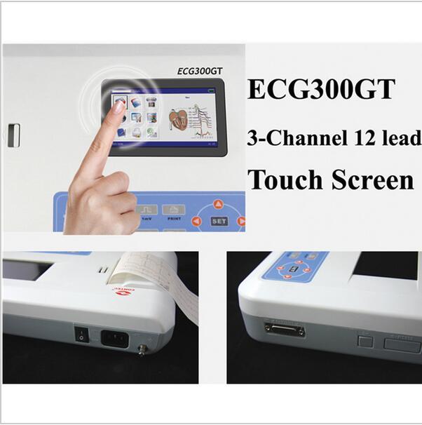 Digital 3 Channel 12 lead ECG/EKG machine+software Touch Screen CONTEC ECG300GT цена
