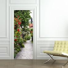 Door Sticker 3D Pastoral Stairs Landscape Wallpaper Living Room Restaurant PVC Self-Adhesive Waterproof Door Decals Wall Sticker