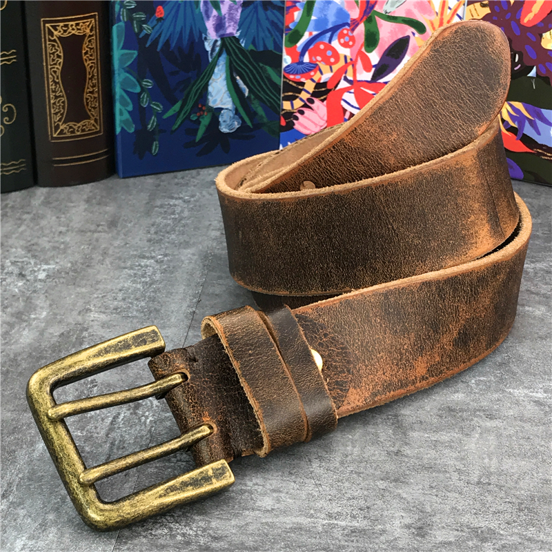 Super Wide 4 2CM Genuine Leather Men Belt Luxury Double Pin Vintage Belt Buckle Ceinture Homme