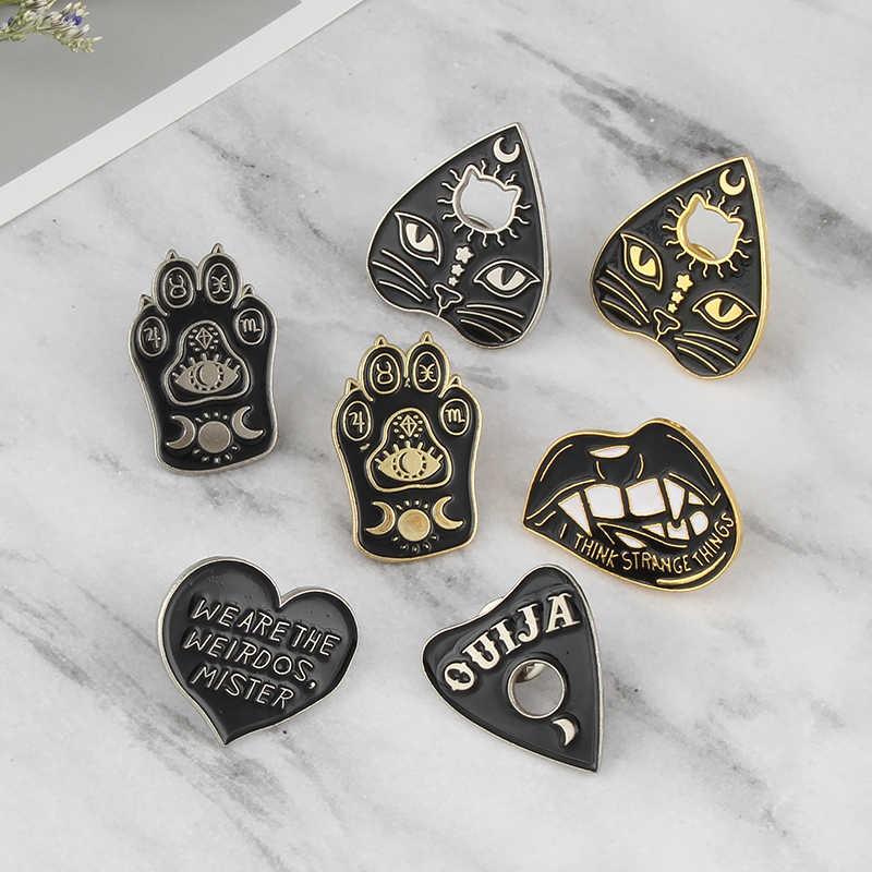 Strega Modello Graffio di Gatto Amore Testa di Gatto Spilla Personalità Della Moda Le Labbra a forma di Cuore del Metallo Dello Smalto pin Signore Vestito Punk pin