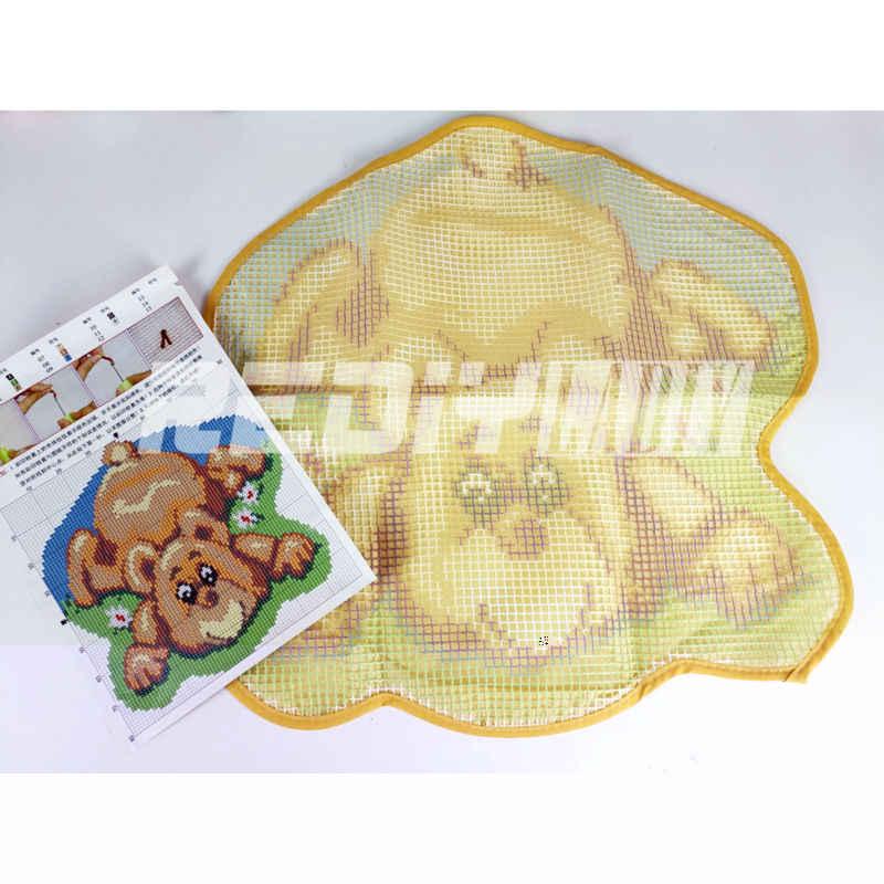 DIY שטיח שטיח קריקטורה ינשופים תפס וו שטיח ערכות סורגת שמיכת 100% אקריליק חוט כרית סט לא גמורה מחצלת