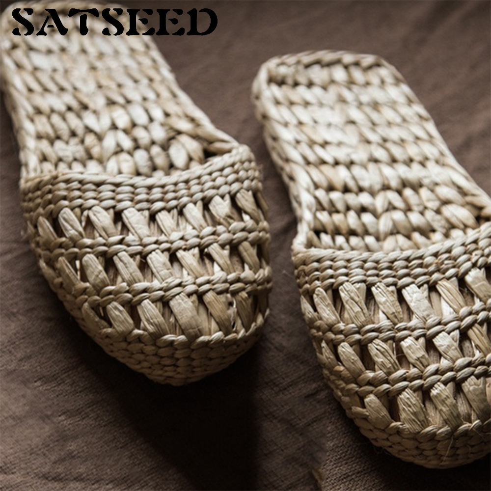 Pure Handmade Shoes Women Cane Hemp Natural Cool Summer Female Leisure Breathable Comfortable Flat Slippers breathable women hemp summer flat shoes eu 35 40 new arrival fashion outdoor style light
