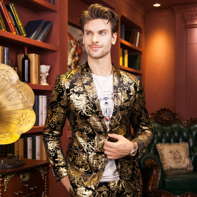 18e956cc33849 New Men Fashion Slim Casual Printed Embroidered Suits (Jacket+Pants) Male  Wedding Host Singer Stage Performance Prom Blazer Suit-in Blazers from  Men's ...