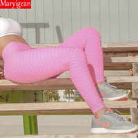 Maryigean Kalb Länge Anti-Cellulite Leggings Frauen Scrunch Zurück hose Push-Up Schwarz Sport Leggings Fitness Hohe Taille Workout