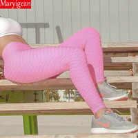 Maryigean veau longueur Anti-Cellulite Leggings femmes Scrunch retour pantalon Push Up noir Sport Leggings Fitness taille haute entraînement