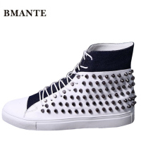 Real Leather Casual Brand Rock White Male Boot High Top Studded Shoe Hightop Footwear Street Style