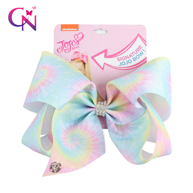 "8"" Large JoJo Bow W Hair Clip For Girls Kids Handmade Metalic Printed Ribbon Knot Jumbo Hair Bow Hair Accessories(China)"