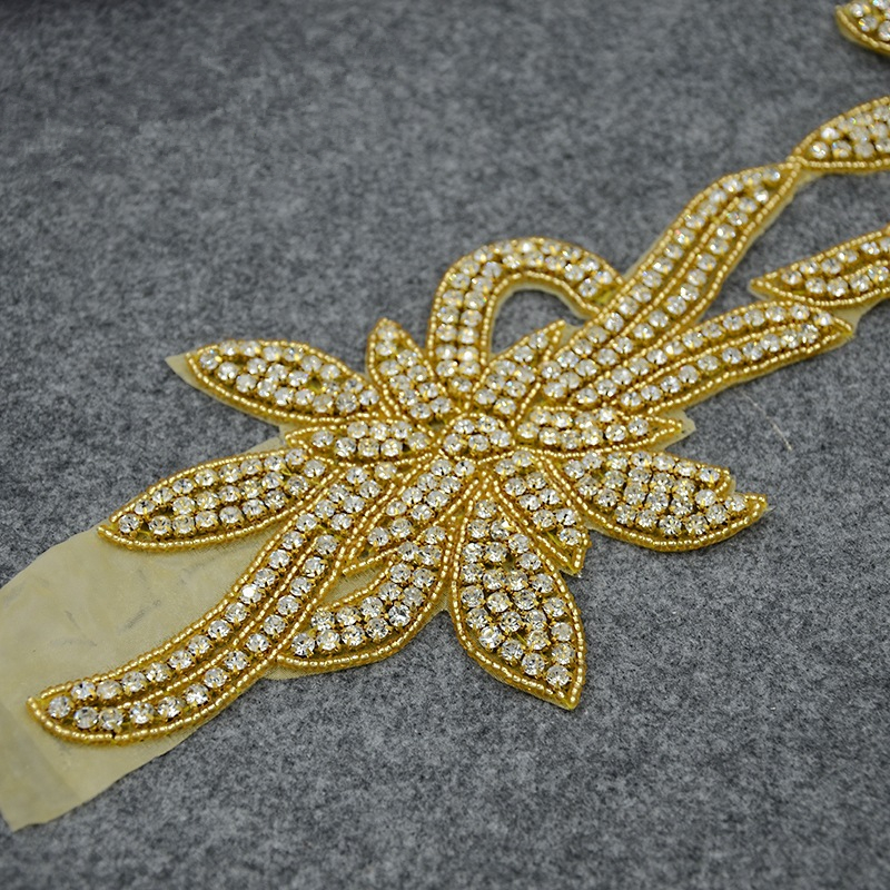 železo na zlato svatební drahokam korálkový nášivka zdobení - Umění, řemesla a šití