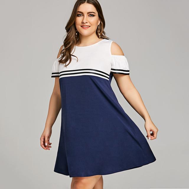 1848bcb61a9 Women Summer Short Sleeves Color Block Dresses Plus Size 5XL Double Striped  Open Shoulder Big Size