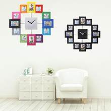 Silver Aluminum Multi Picture Aperture Family Photo Frame Clock(China)