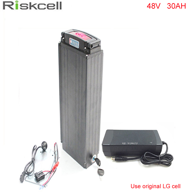 Super Powerful Rear Rack 48V 30Ah 18650 ebike Li-ion Battery 48V 1000W Battery for Electric Bike with Charger BMS For LG cell 48v 34ah triangle lithium battery 48v ebike battery 48v 1000w li ion battery pack for electric bicycle for lg 18650 cell