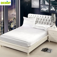 ФОТО dekop emulation silk solid fitted sheet mattress cover bed sheet with elastic band 1 pc double queen size
