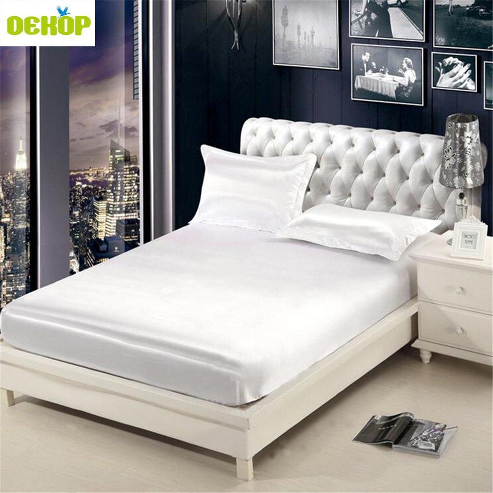 DEKOP Emulation Silk Solid Fitted Sheet Mattress Cover Bed Sheet With Elastic Band 1 Pc Double Queen Size