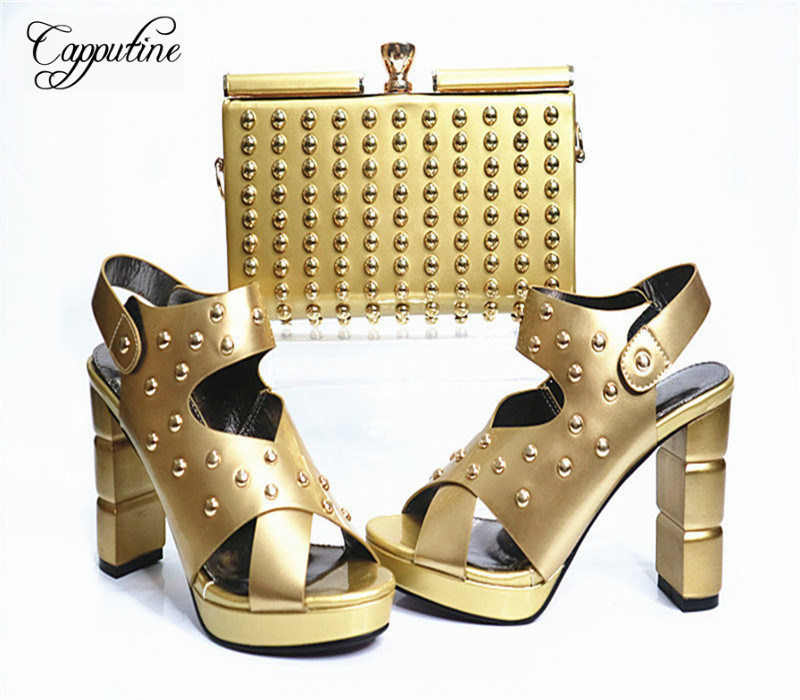 Capputine New Arrival Fashion Shoes And Bag Set High Quality Italian Style Woman High Heels Shoes And Bags Set For Wedding Party capputine high quality crystal super high heels shoes and bag set italian style woman shoes and bag set for wedding party g33