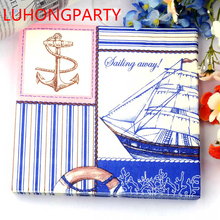 New 20pcs Blue Pirate Paper Napkins Glass folded Printed Wedding 100% Virgin Wood Tissue for coffee shop Party Decoration