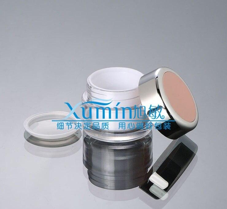 50 pcs 20g acrilico frasco de creme branco com rosa claro tampa 20 gramas jar cosmeticos