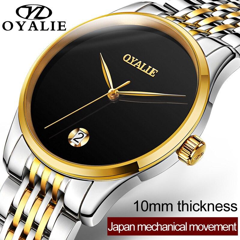 2018 Top marque de luxe OYALIE montre mécanique automatique hommes classique en acier inoxydable résistant à l'eau montres Reloj Hombre