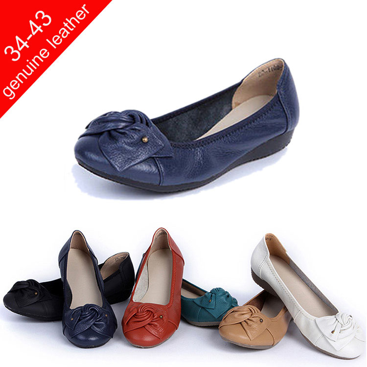 05aa01e089ac3 2014 New Vintage Women Genuine Leather Shoes Comfortable Leather Bow Flat  Shoes for Women Ballerinas Dancing Flats Size 34-43