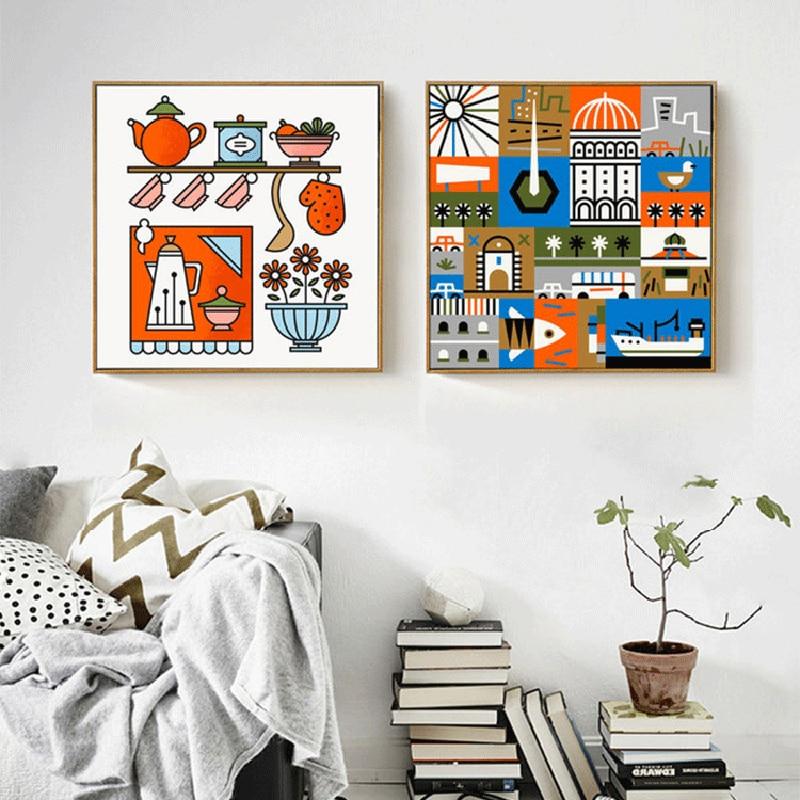 US $4.39 12% di SCONTO|HAOCHU Moderno Caldo Colorato Cucina forniture  Architettura Quadri Su Tela Pittura Blu Arancio graffiti Poster Per  Soggiorno-in ...