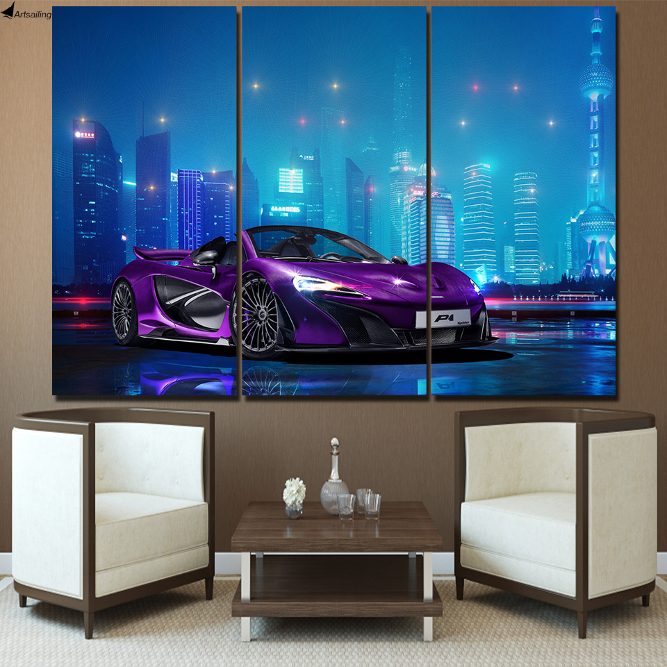 3 pcs canvas art mclaren luxury car poster hd printed wall art home decor canvas painting. Black Bedroom Furniture Sets. Home Design Ideas