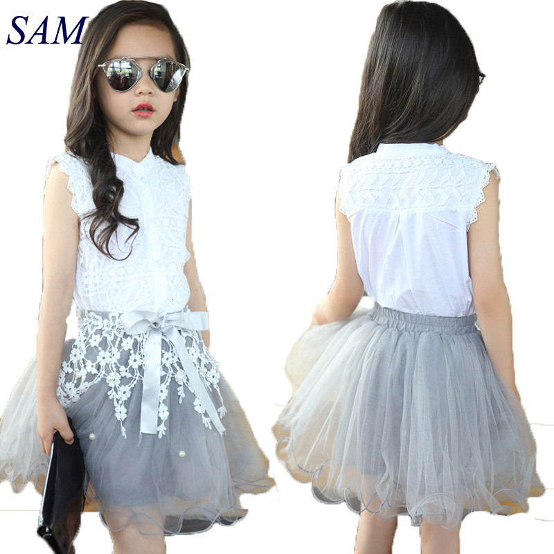 Girls Clothing Sets Summer Cotton Lace T-Shirts+Floral Tutu Skirt 2Pcs Suits Girls Clothes Sets Fashion Princess Kids Outfits new fashion summer kids girls clothing sets cotton sleeveless polka dot strap girls jumpsuit clothes sets outfits children suits
