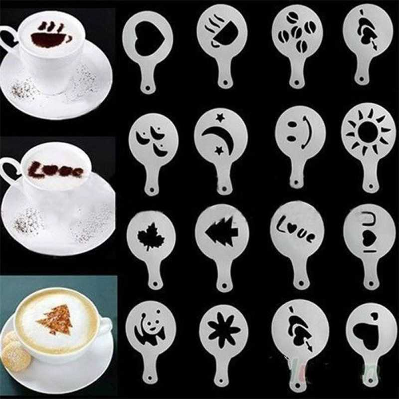16 pcs/set Coffee Drawing Mold Printing Model Coffee Foam Spray Cake Stencils Powdered Sugar Sieve Coffee Accessories