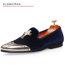 New Men Flat Shoes Vintage Velvet Loafers Golden Metal Shoes Toe Cross Buckle Party Men Loafer Shoe Fashion Dress Shoes BR-C1476