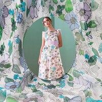 קו כסף קצה סופר יפה של פרח ירוק סוג חדירת אור בד משי crepon משי קיץ שמלה אלגנטית